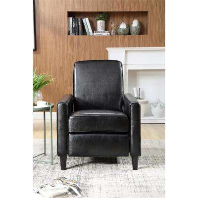 Black Faux Leather Push Back Recliner
