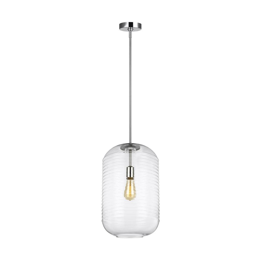 Feiss Arlon 1-Light Polished Nickel Pendant with Clear Ripple Glass Shade