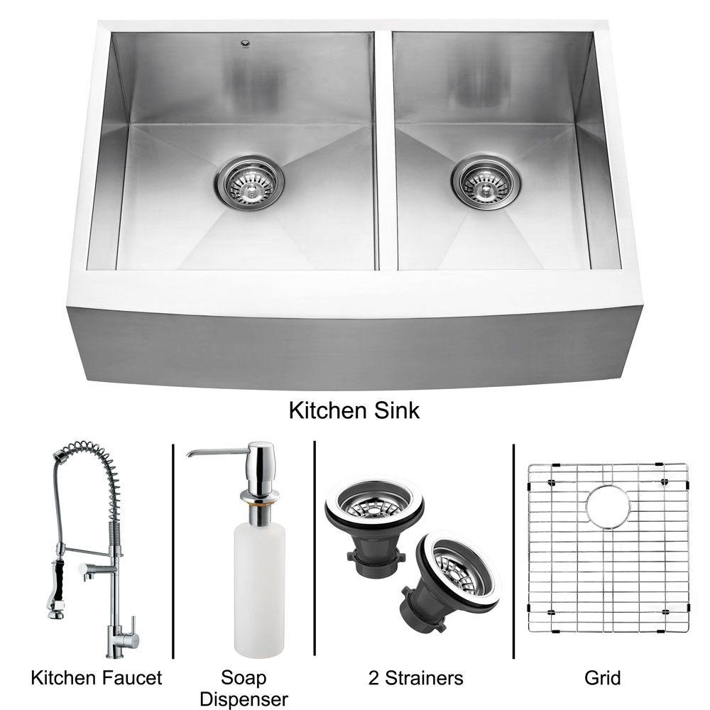 Vigo All-in-One Farmhouse Apron Front Stainless Steel 33x22.25x10 0-Hole Double Basin Kitchen Sink- DISCONTINUED