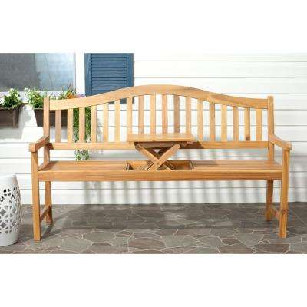 Mischa Natural Brown Acacia Wood Patio Bench