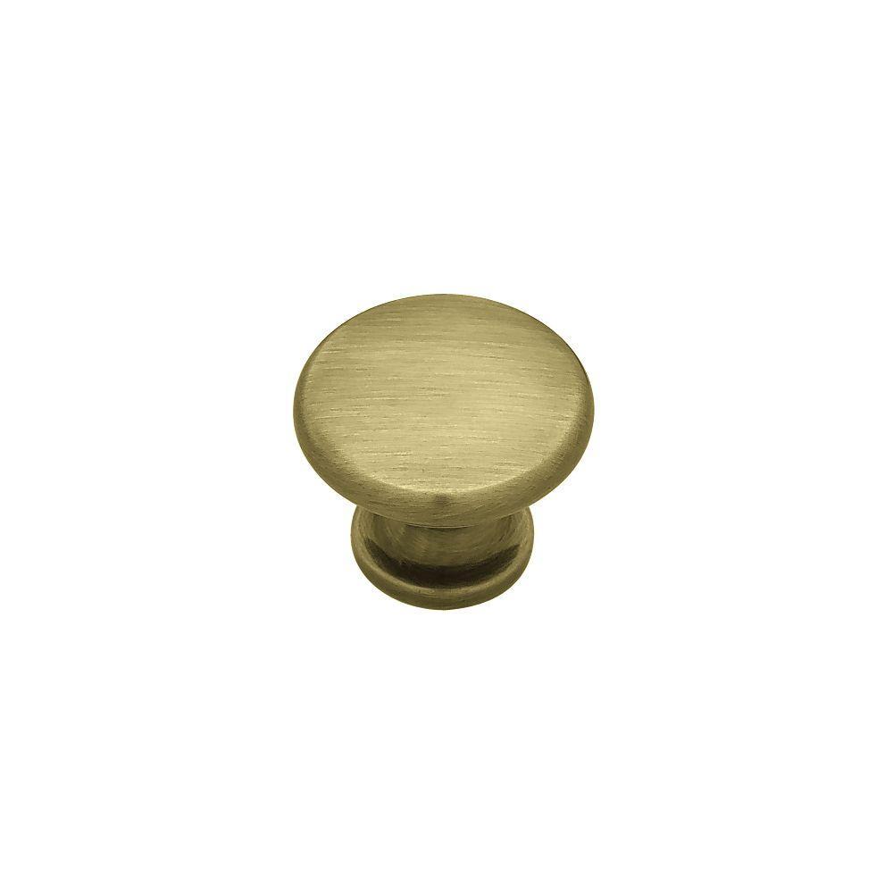 (28mm) Antique Brass Round - Liberty Simple Mushroom 1-1/8 In. (28mm) Antique Brass Round Cabinet