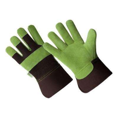 Large Ladies Premium Cow Suede Green Leather Palm