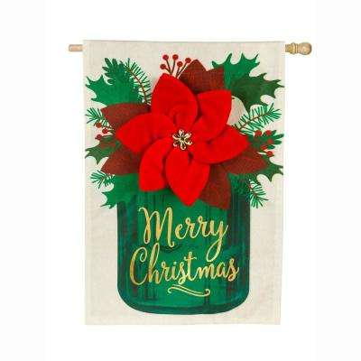 28 in. x 44 in. Poinsettia Mason Jar House Linen Flag