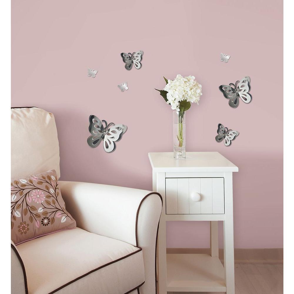 3D Mirror Art Butterfly Wall Decal & 13.3 in. x 14.25 in. 3D Mirror Art Butterfly Wall Decal-MA99951 ...