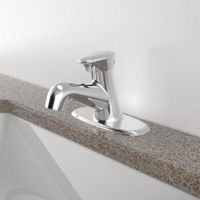 Easy Push Single Hole Single-Handle Metering Bathroom Faucet in Polished Chrome