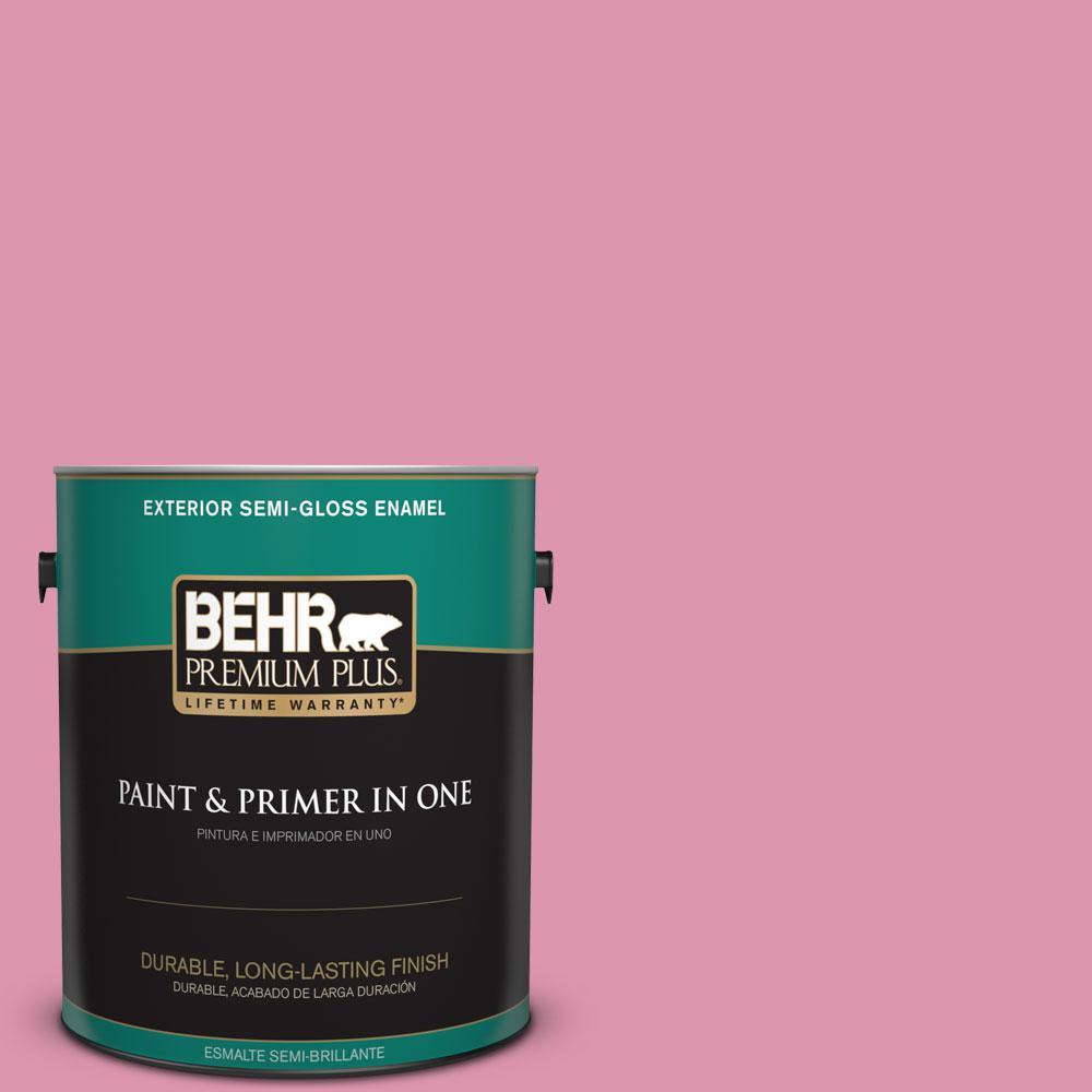 1-gal. #110B-4 Foxy Pink Semi-Gloss Enamel Exterior Paint