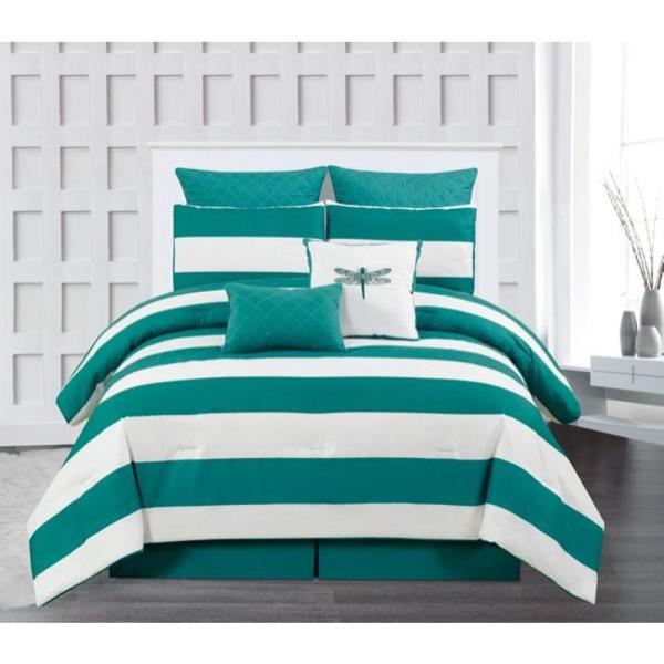 Duck River Delia Stripe Printed Online King 7 Piece Comforter Set