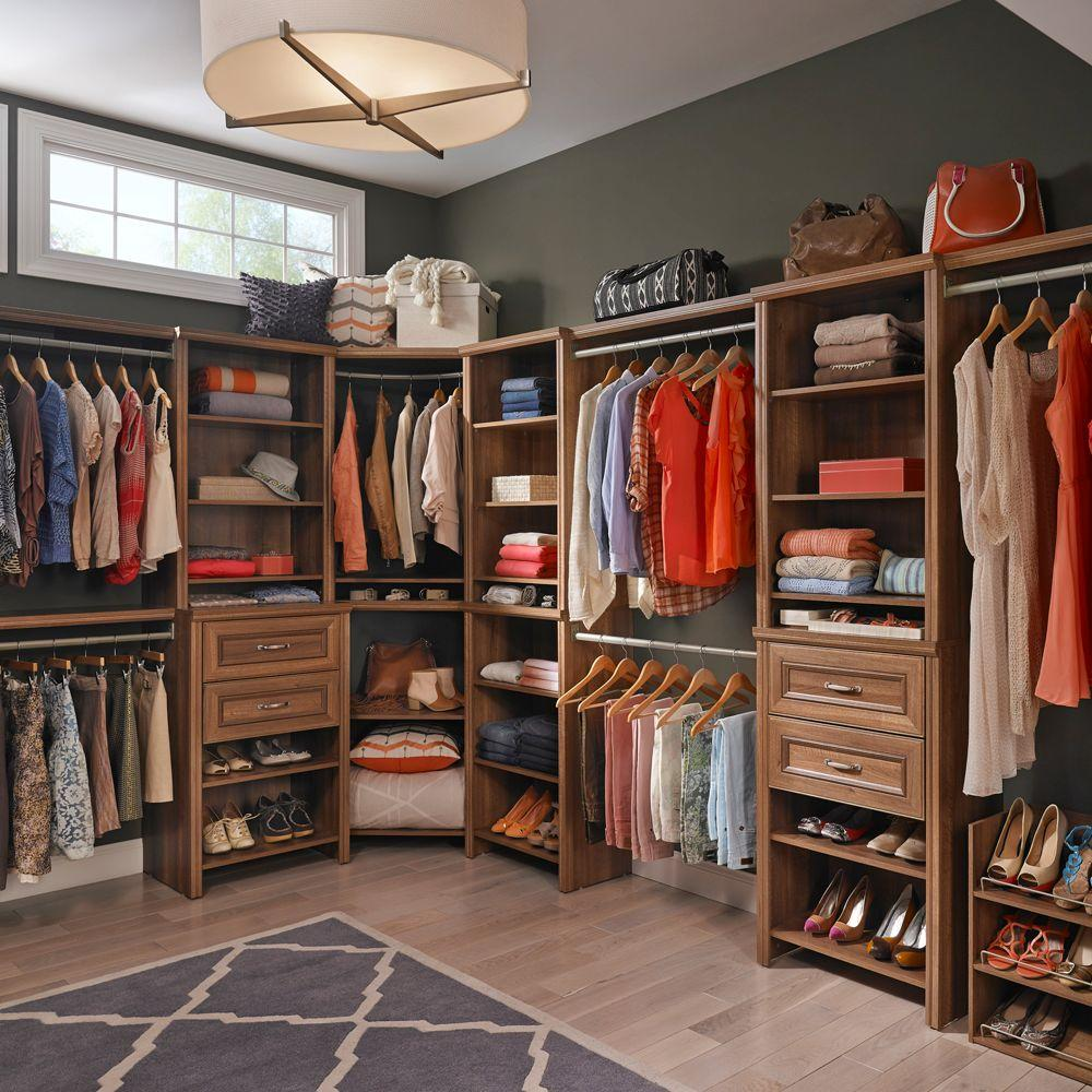 ClosetMaid Impressions 25 in. W. Walnut Deluxe Hutch Closet Kit ...