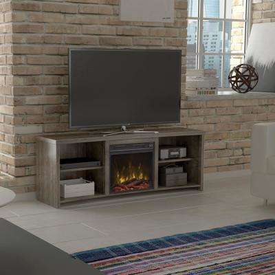 Shelter Cove 65 in. Media Console Electric Fireplace in Valley Pine Driftwood