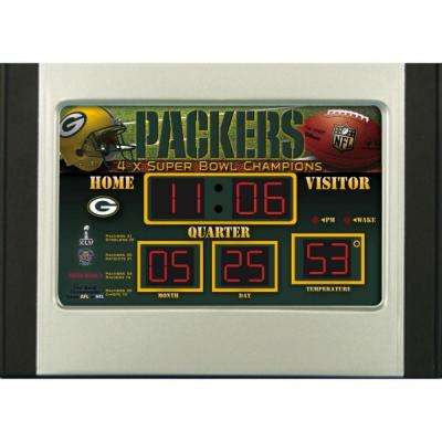 Green Bay Packers 6.5 in. x 9 in. Scoreboard Alarm Clock with Temperature