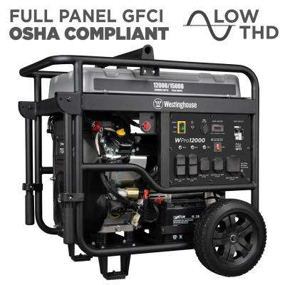 Pro 12000-Watt Ultra Duty Gas Powered Electric Start Portable Industrial Generator with Remote Start and Full Panel GFCI