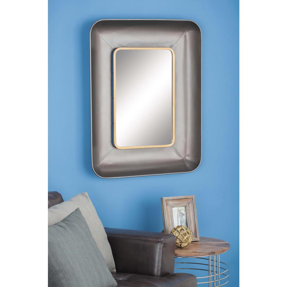 35 in. x 27 in. Modern Metallic Black Gold-Finished Framed Wall