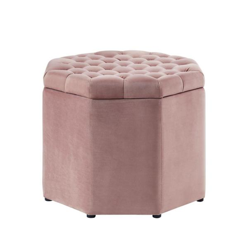 Inspired Home Luna Blush Velvet Upholstered Tufted Octagon Storage Ottoman