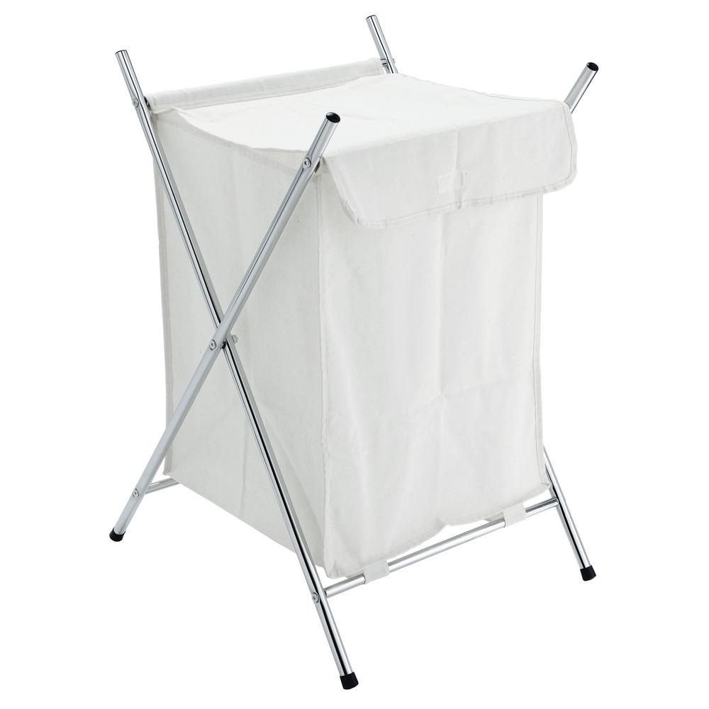Wayar White Metal Foldable Laundry Basket with Stand