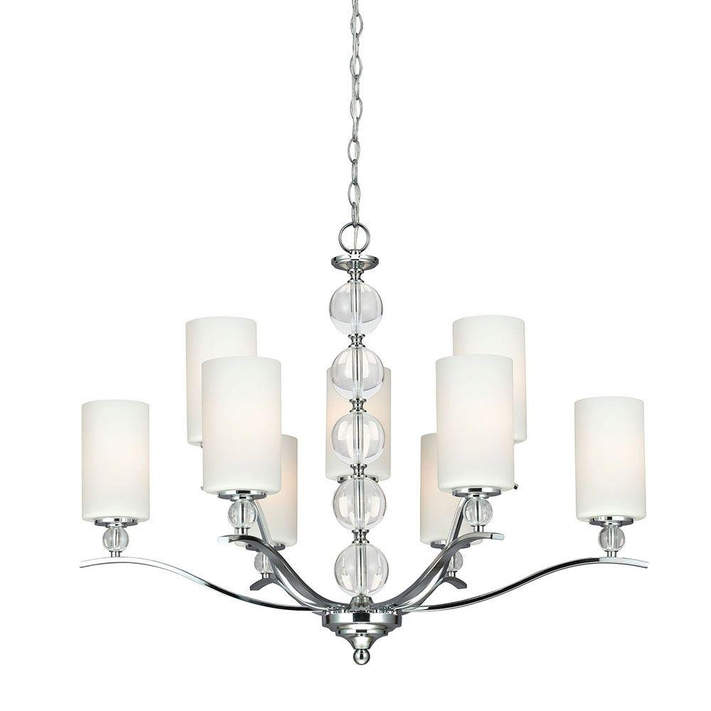 Sea Gull Lighting Englehorn 9-Light Chrome Chandelier with Inside White Painted Etched Glass