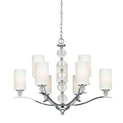 Englehorn 32.25 in. W 9-Light Chrome Chandelier with Etched White Glass