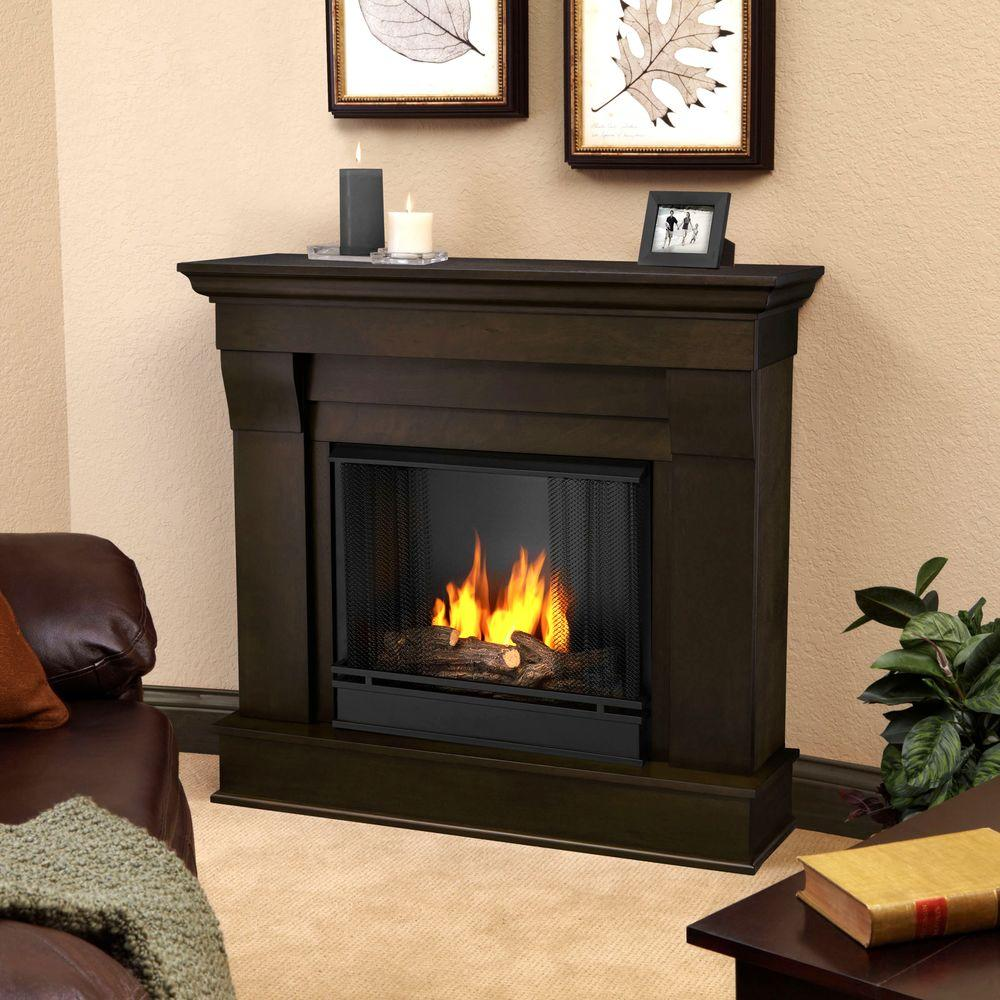 Real Flame Chateau 41 in. Ventless Gel Fuel Fireplace in Dark Walnut