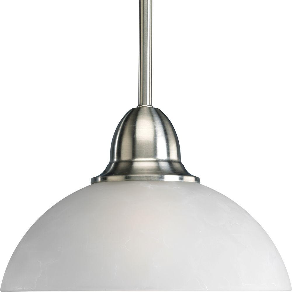 Progress Lighting Pavilion Collection 1-Light Brushed Nickel Mini Pendant