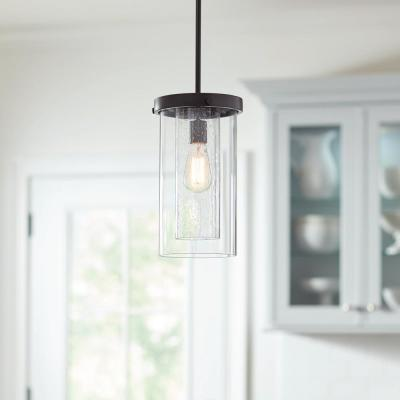 1-Light Royal Bronze Mini Pendant with Dual Glass Shades