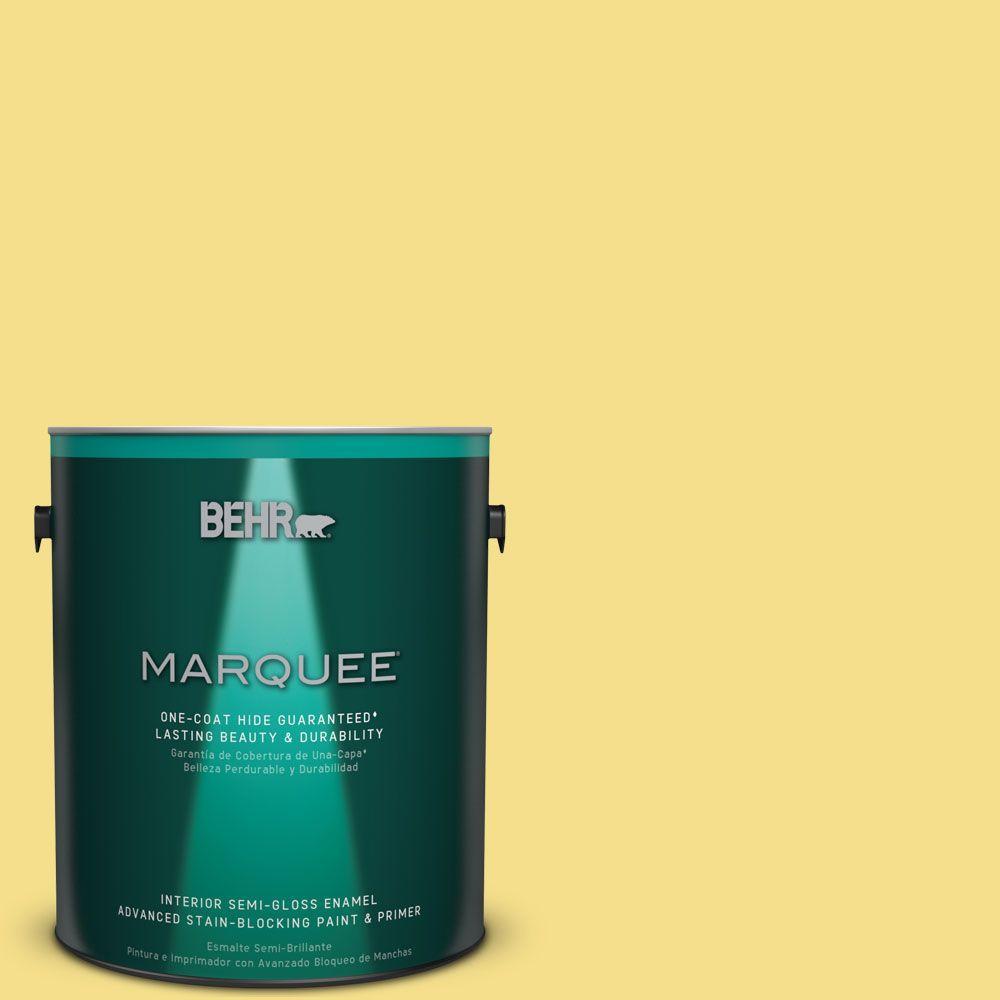 1 gal. #HDC-SP16-03 Lemon Curd Semi-Gloss Enamel Interior Paint