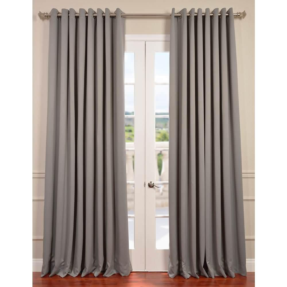 Exclusive Fabrics & Furnishings Semi-Opaque Neutral Grey Grommet Doublewide Blackout Curtain - 100 in. W x 96 in. L (1 Panel)