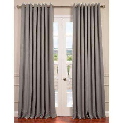 Semi-Opaque Neutral Grey Grommet Doublewide Blackout Curtain - 100 in. W x 96 in. L (1 Panel)