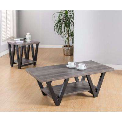 Gray Coffee and End Table With One Shelf (Set of 2)