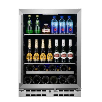 Signature 24 in. 84-Can and 13-Bottle Stainless Steel Single Door Single Zone Built-In Beverage and Wine Cooler