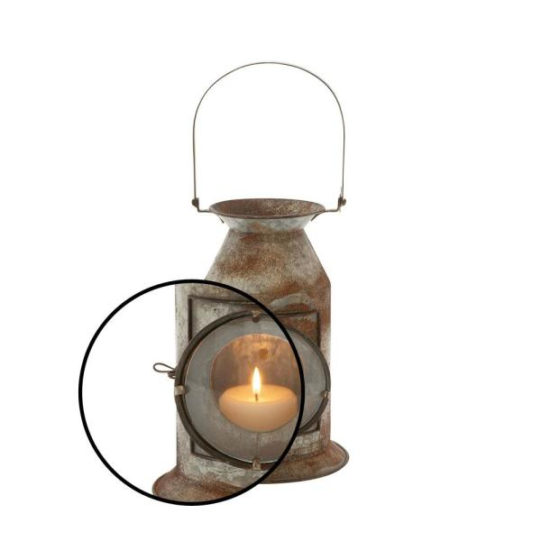 """Vintage Style Metal Glass Candle Lantern 10/"""" Gold Oxidized Open Top With Handle"""