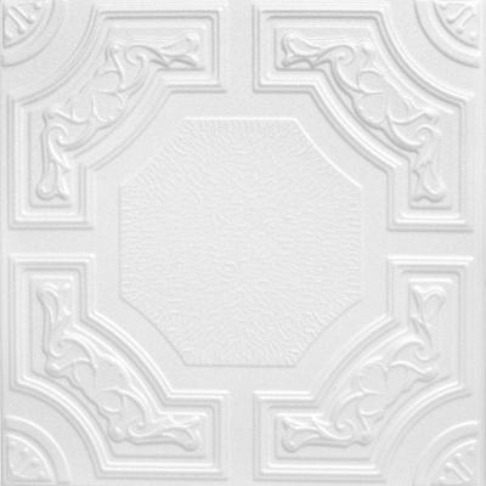 Evergreen 1.6 ft. x 1.6 ft. Glue Up Foam Ceiling Tile in Plain White (21.6 sq. ft./case)