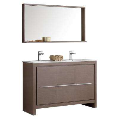 Allier 48 in. W Vanity in Gray Oak with Ceramic Vanity Top in White with Double White Basin and Mirror