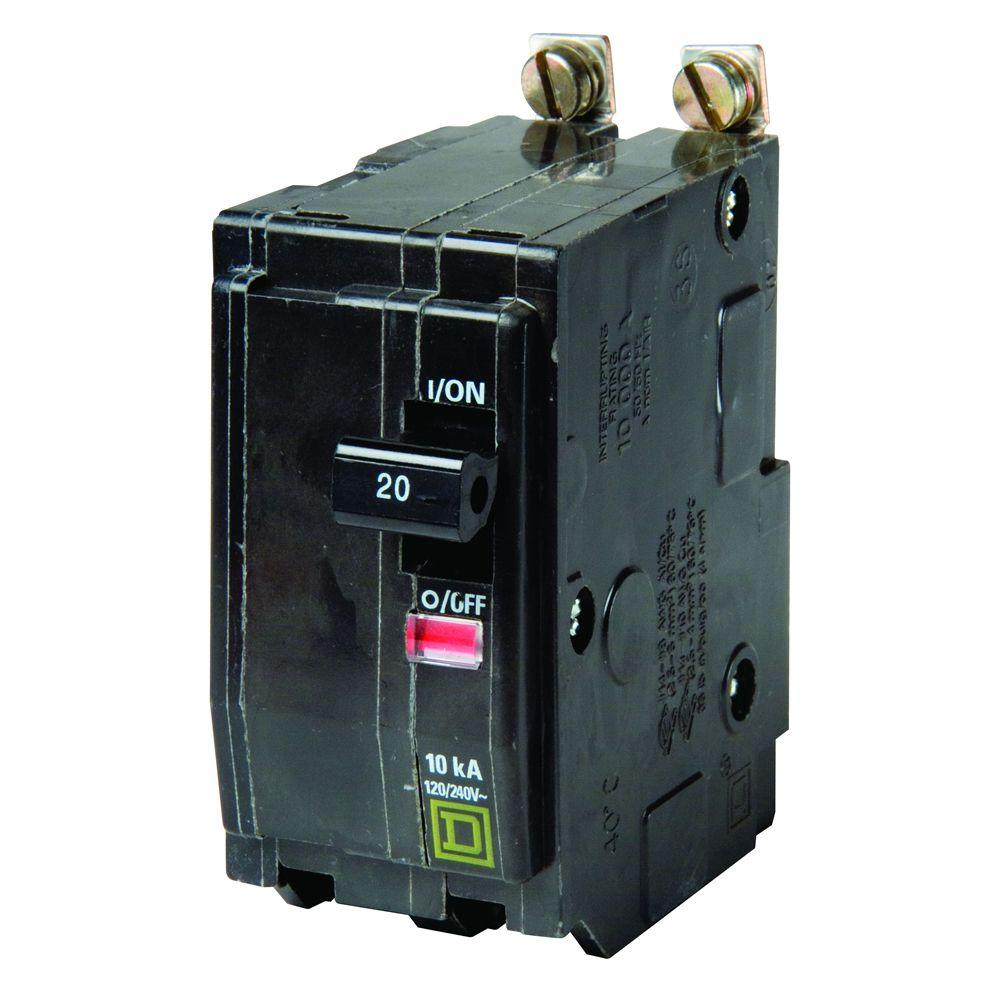 Square D QO 20 Amp 2-Pole Bolt-On Circuit Breaker-QOB220 - The Home ...