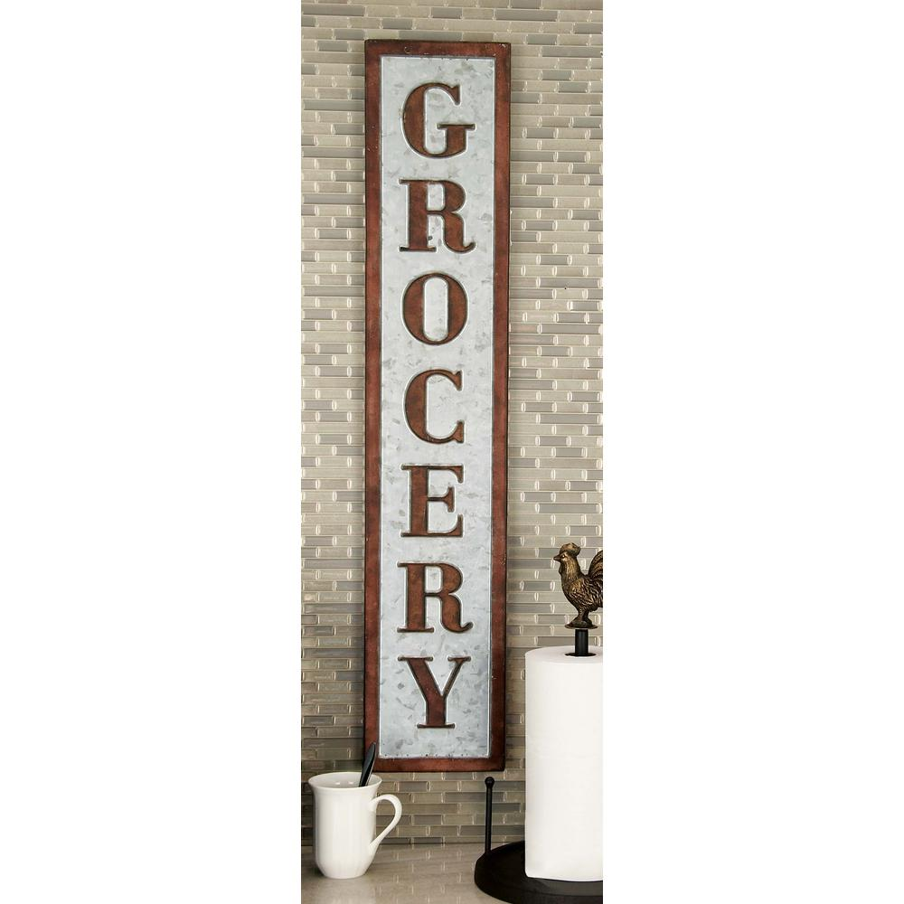 "7 in. x 36 in. Pop Arts ""Grocery"" Brown Metal Wall"