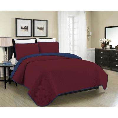 Reversible Austin 3-Piece Burgundy and Navy Full and Queen Quilt Set