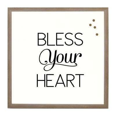 Bless Your Heart Rustic Brown Frame Magnetic Memo Board