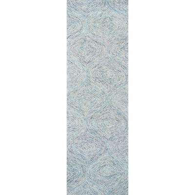 """London Collection Blue 100% Wool 2'6"""" x 8' Hand-Tufted Trellis Area Rug"""