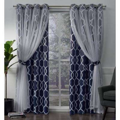 Carmela 52 in. W x 96 in. L Layered Sheer Blackout Grommet Top Curtain Panel in Indigo (2 Panels)