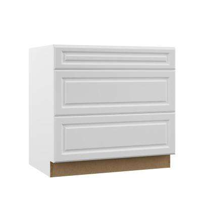 Elgin Assembled 36x34.5x23.75 in. Pots and Pans Drawer Base Kitchen Cabinet in White