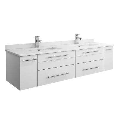 Lucera 60 in. W Wall Hung Bath Vanity in White with Quartz Stone Double Sink Vanity Top in White with White Basins