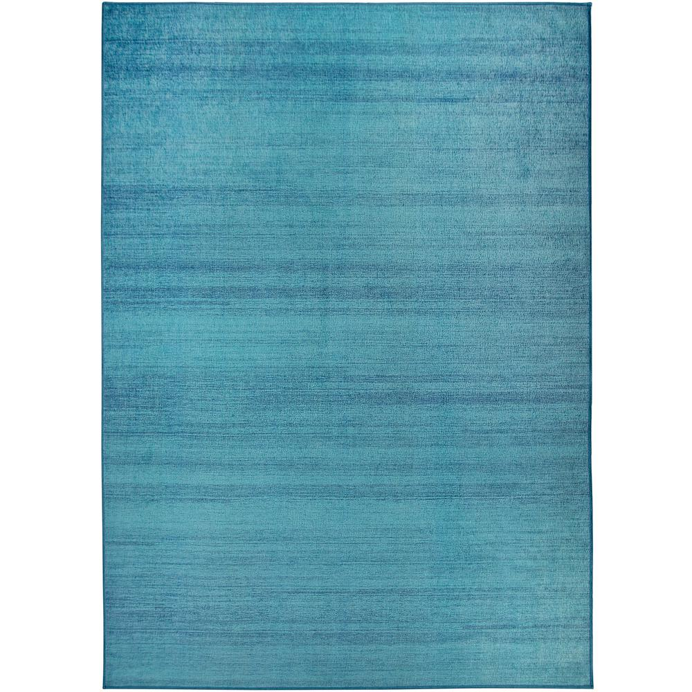 Ruggable Washable Solid Textured Ocean Blue 5 Ft X 7 Ft