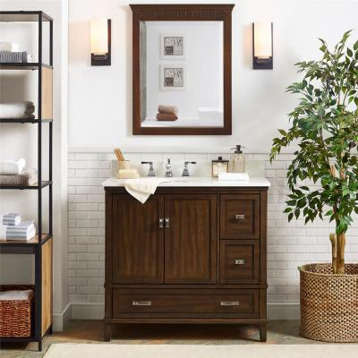 Irving 36 in. W Bath Vanity in Dark Walnut with Soft White Engineered Stone Vanity Top w/ Pre-Installed Porcelain Basin