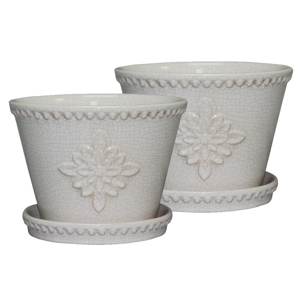 Lorna 8 in. Dia Pearl White Ceramic Pot (2-Pack)