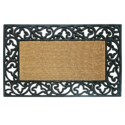 Wrought Iron with Coir Insert and Acanthus Border 30 in. x 48 in. Rubber Coir Door Mat