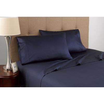 300 Thread Count Certified Organic Navy Cotton Twin Sheet Set