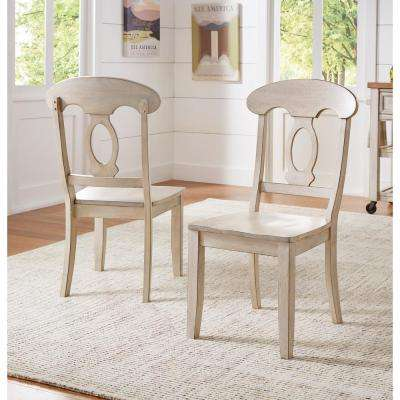 Sawyer Antique White Wood Napoleon-Back Dining Chair (Set fo 2)