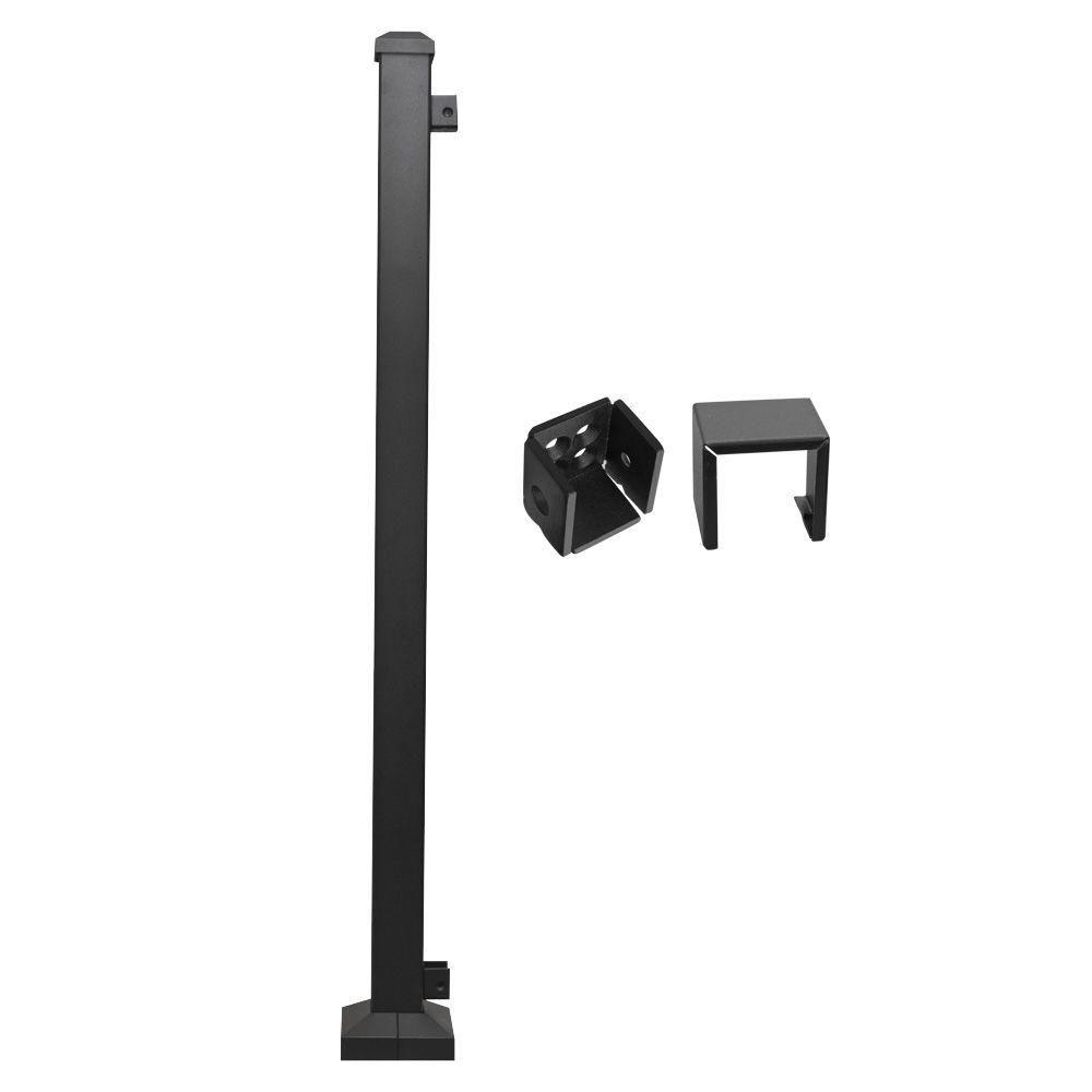 Metal Railing Black End Post Assembly H Rail (Common: 2 in.