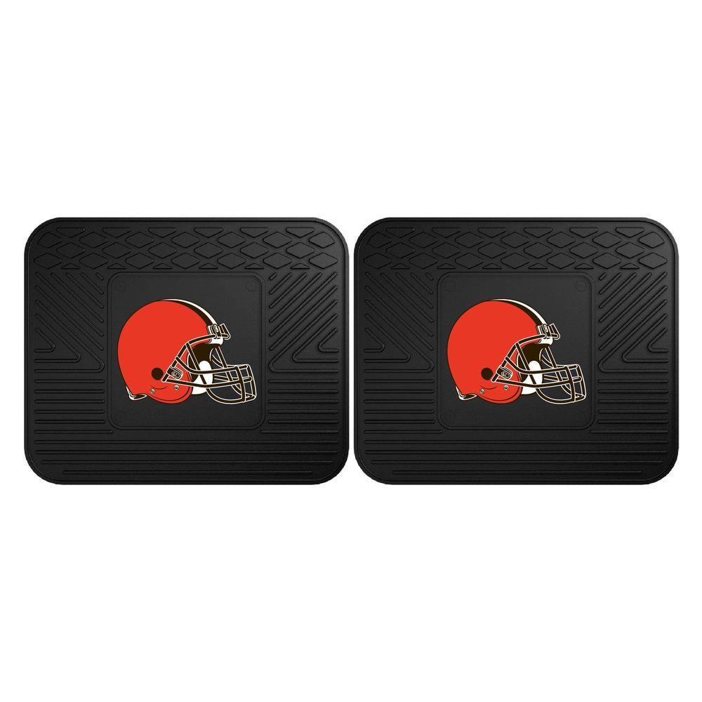 NFL Cleveland Browns Black Heavy Duty 2-Piece 14 in. x 17 in. Vinyl Utility Mat