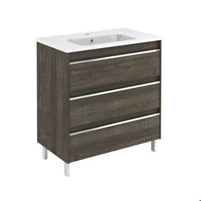31.6 in. W x 18.1 in. D x 33.4 in. H Bathroom Vanity Unit in Samara Ash with Vanity Top and Basin in White