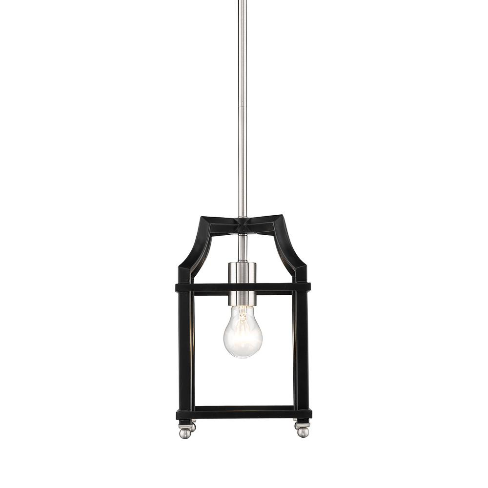 Leighton 1-Light Pewter and Black Pendant Light