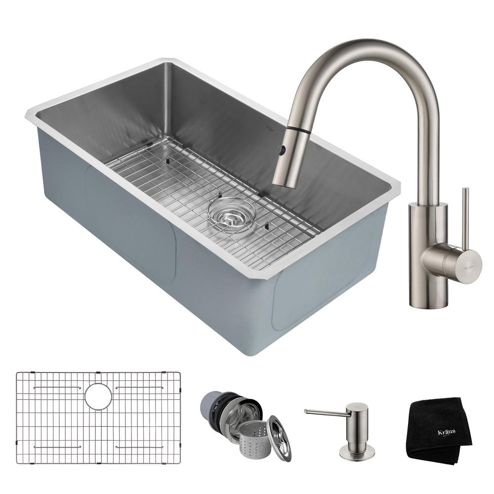 KRAUS Handmade All In One Undermount Stainless Steel 32 In. Single Bowl  Kitchen Sink With Faucet In Stainless Steel KHU100 32 2620 41SS   The Home  Depot